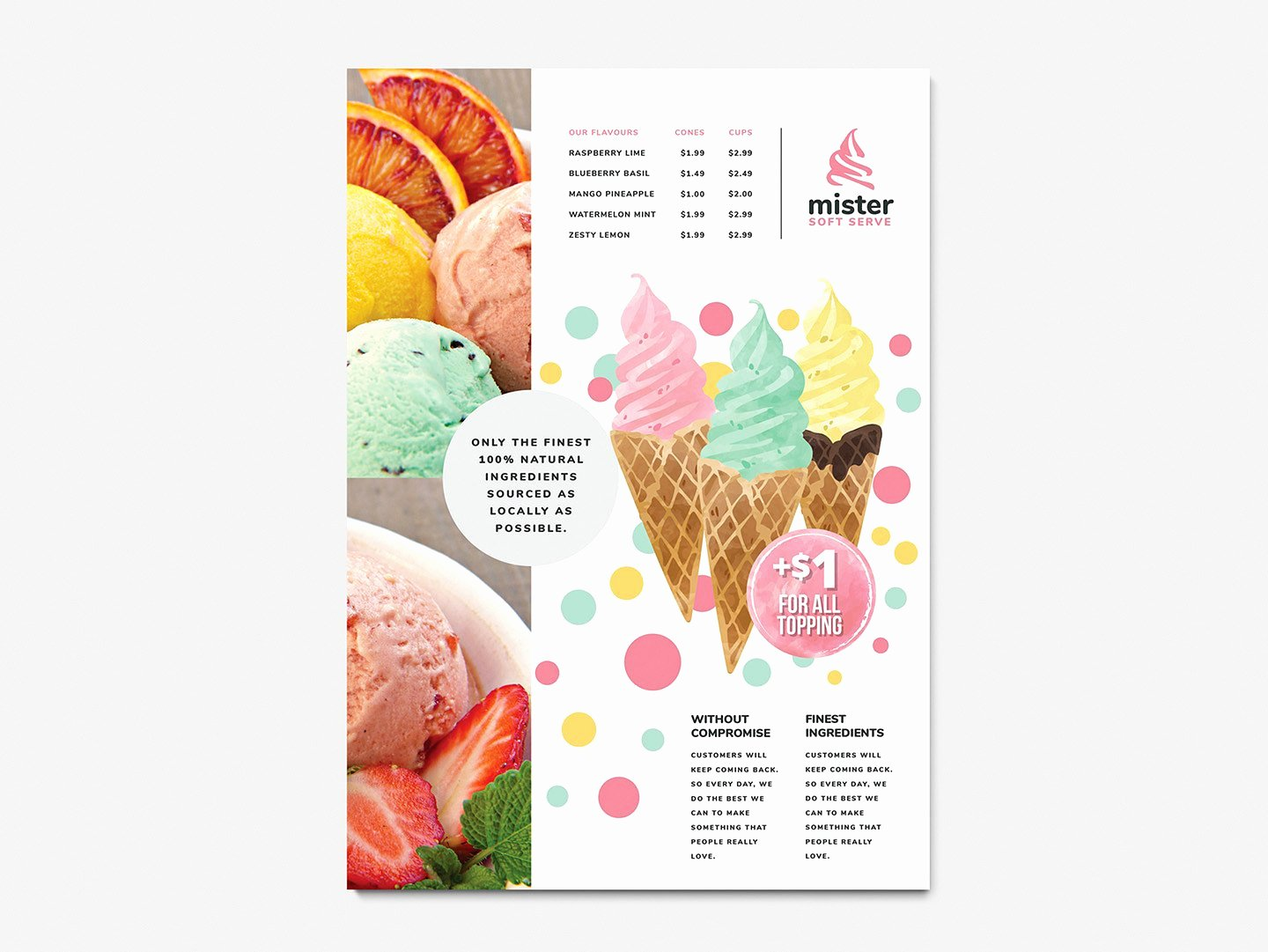A4 Ice Cream Poster Menu Template In Psd Ai & Vector