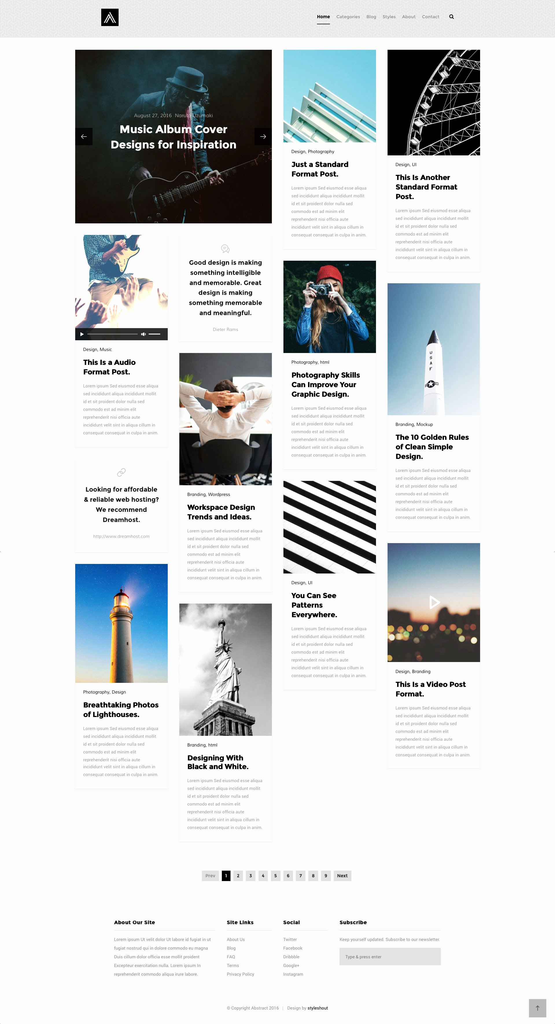 Abstract Free Responsive HTML5 Bootstrap Masonry Template