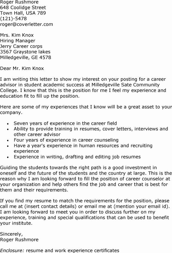 Academic Advisor Cover Letter Examples