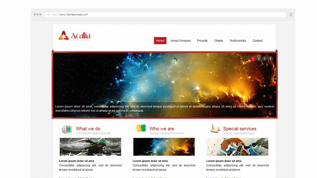 Acalia Free Business Website Template with Inside Page
