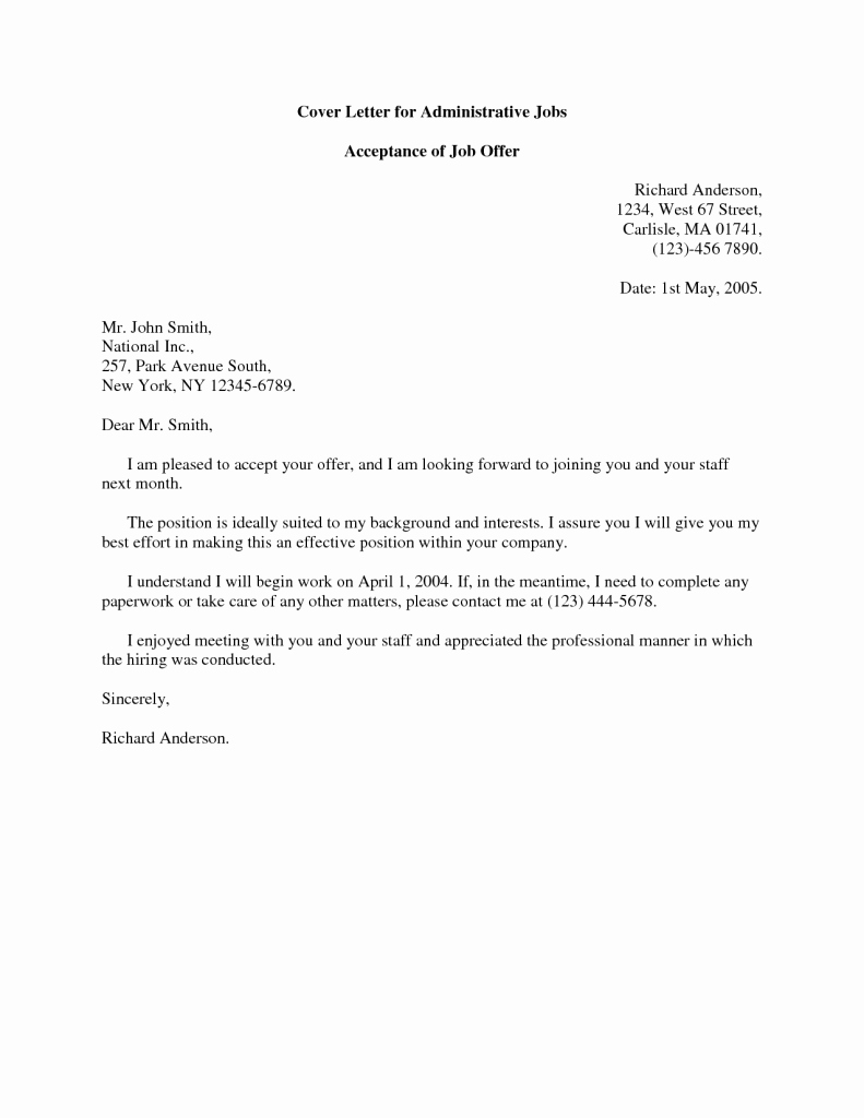 Acceptance Job Fer Cover Letter Sample for