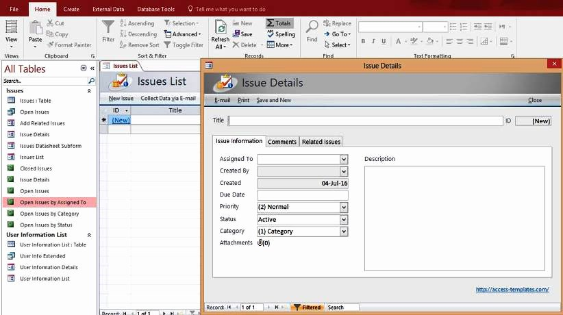 Access Database Template 2016