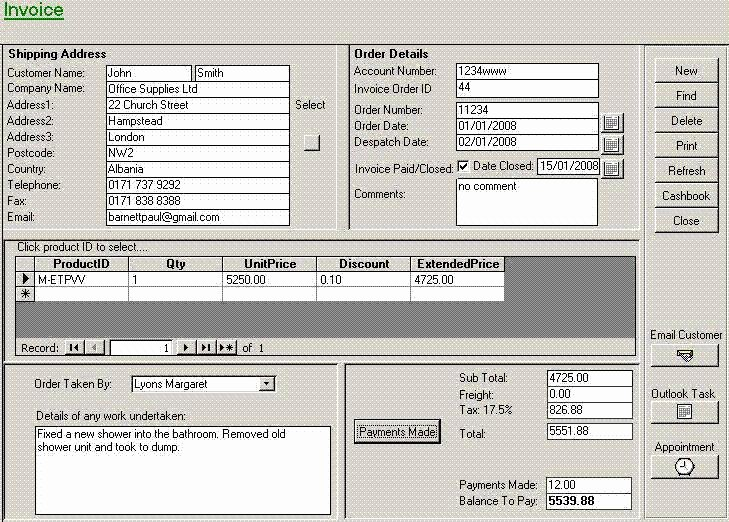 Access Invoice Template Free