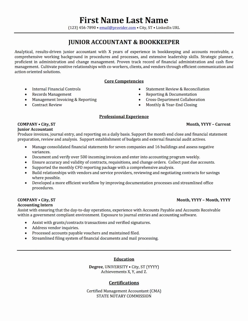Accounting Auditing & Bookkeeping Resume Samples