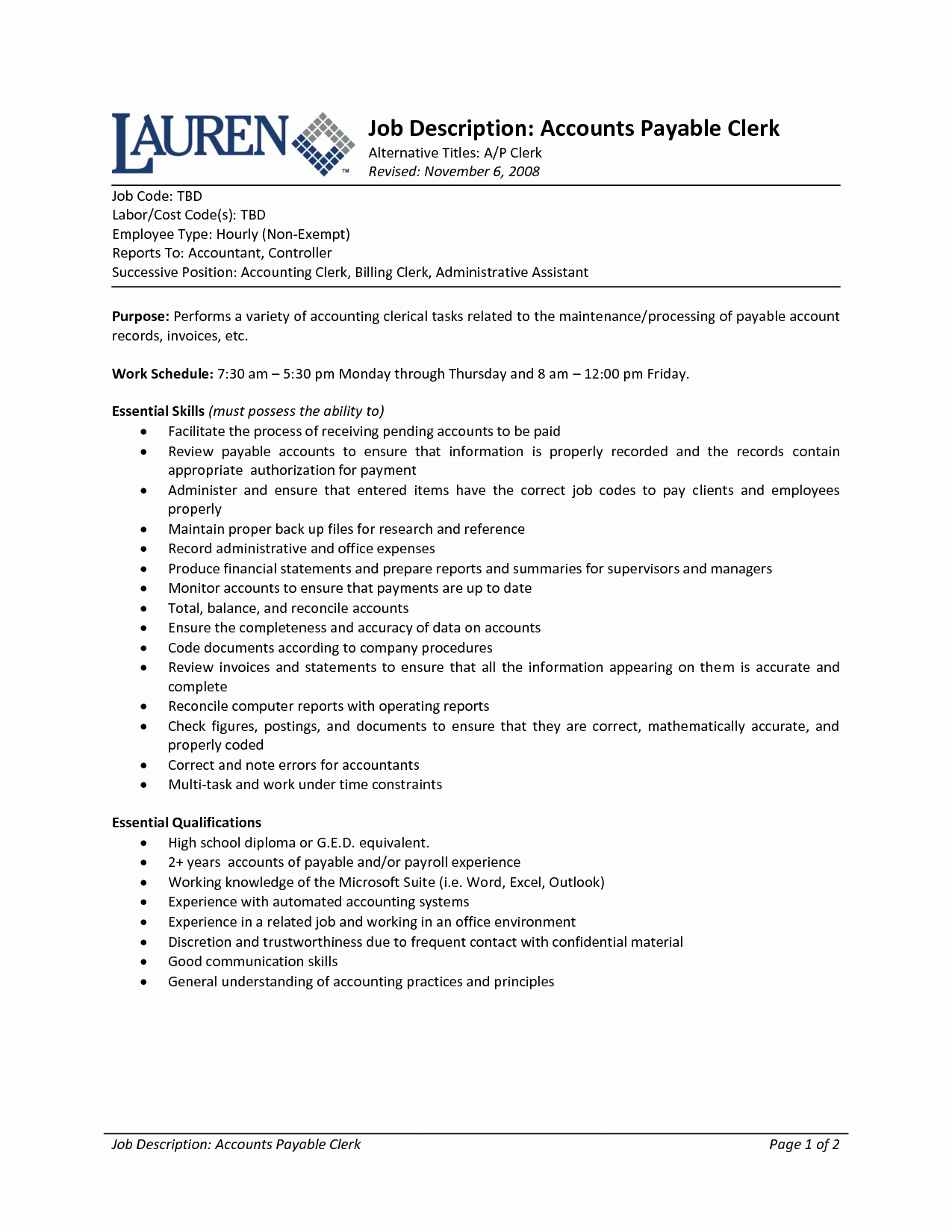 Accounting Clerk Job Description for Resume