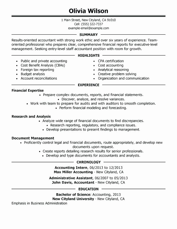 Accounting Internship Resume Sample Internship Sample