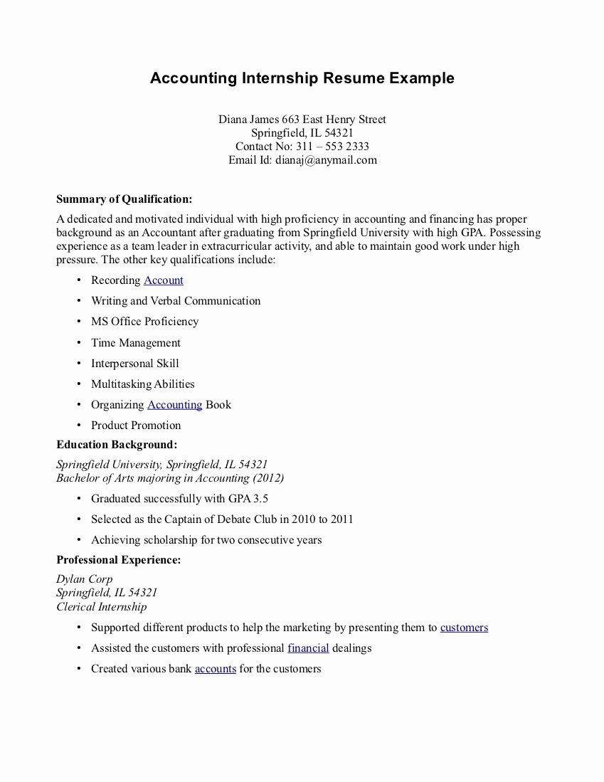 Accounting Internships Resume