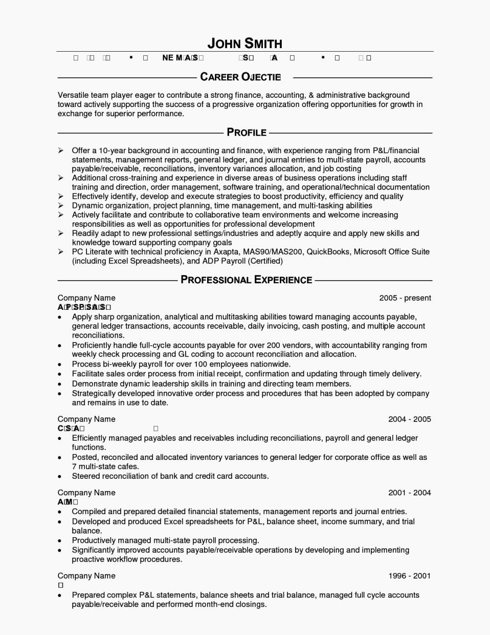 Accounting Job Objectives Resume