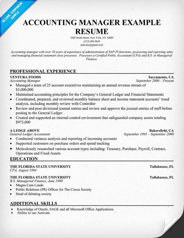 Accounting Manager Resume Sample Job