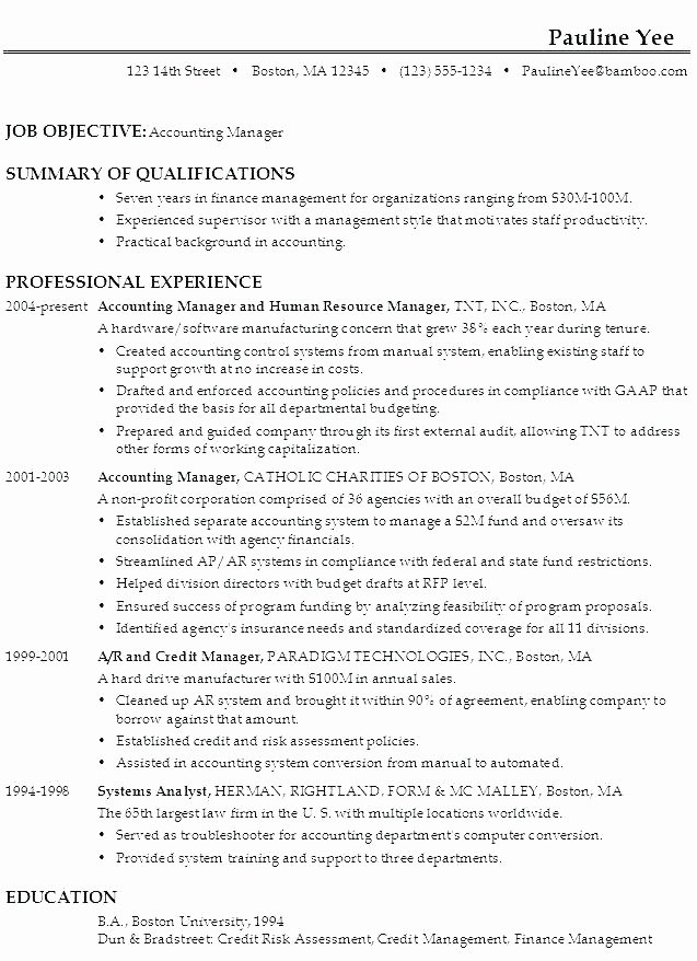 Accounting Resume Examples 2016 Job Objectives for Resumes