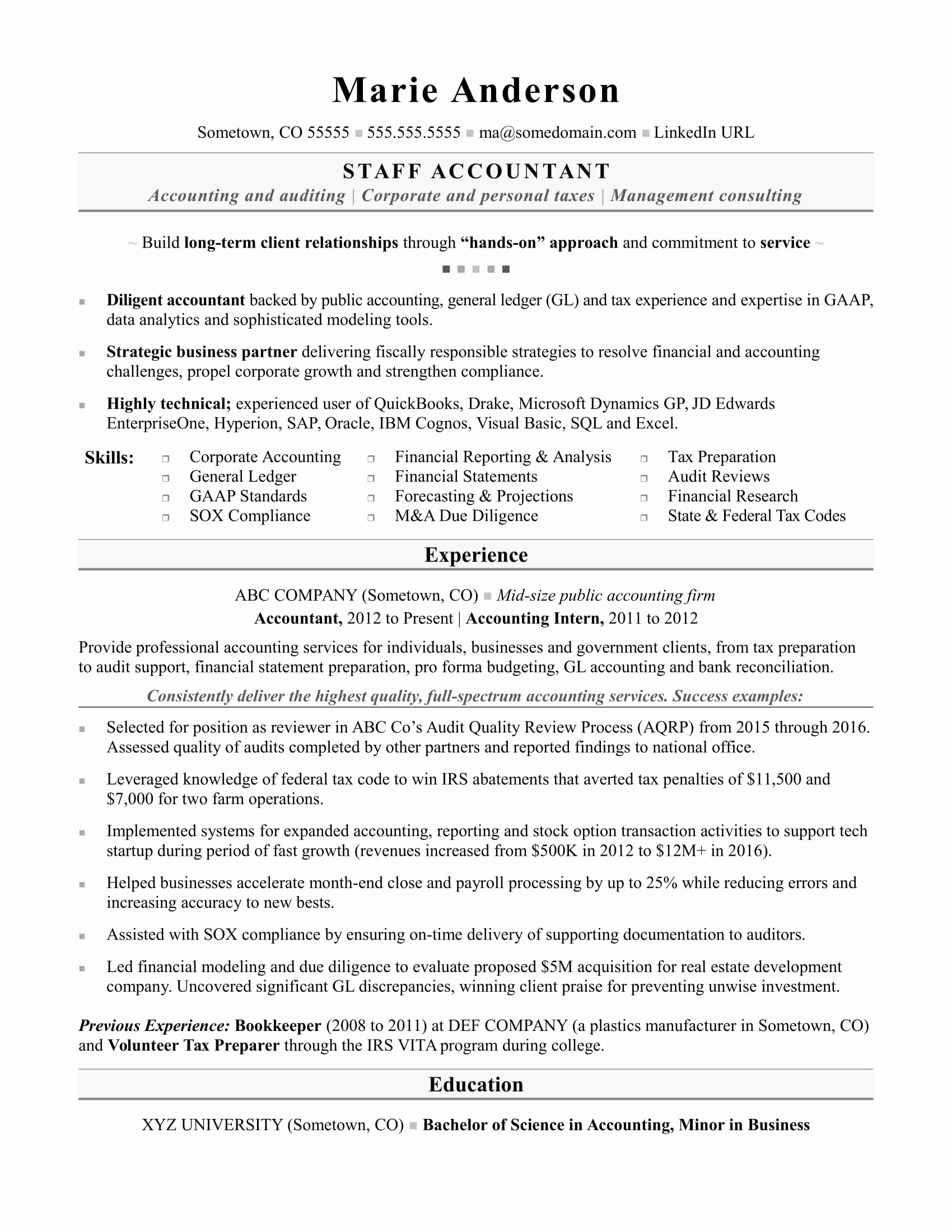 Staff Accounting Resume Samples Latter Example Template