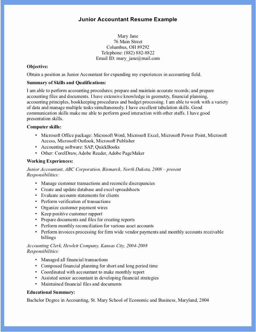 Accounting Resume Sample Word Document Templates
