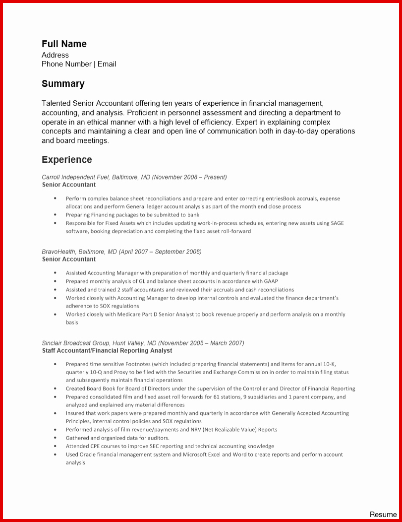 Accounting Roll forward Template Accountant Resume Sample