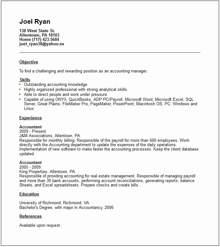 Accounts Manager Resume Example Free Templates Collection