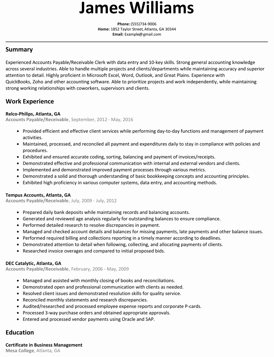 Accounts Payable & Receivable Resume Sample Resumelift