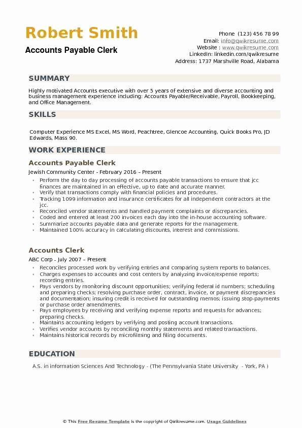 Accounts Payable Clerk Resume Samples