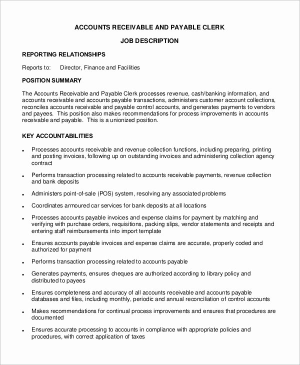 Accounts Payable Job Description Sample Reportspdf819