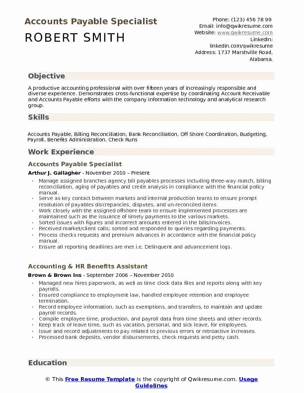 Accounts Payable Specialist Resume Samples