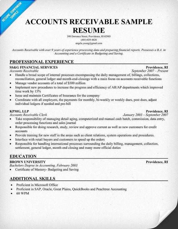 Accounts Receivable Resume Example Resume Panion