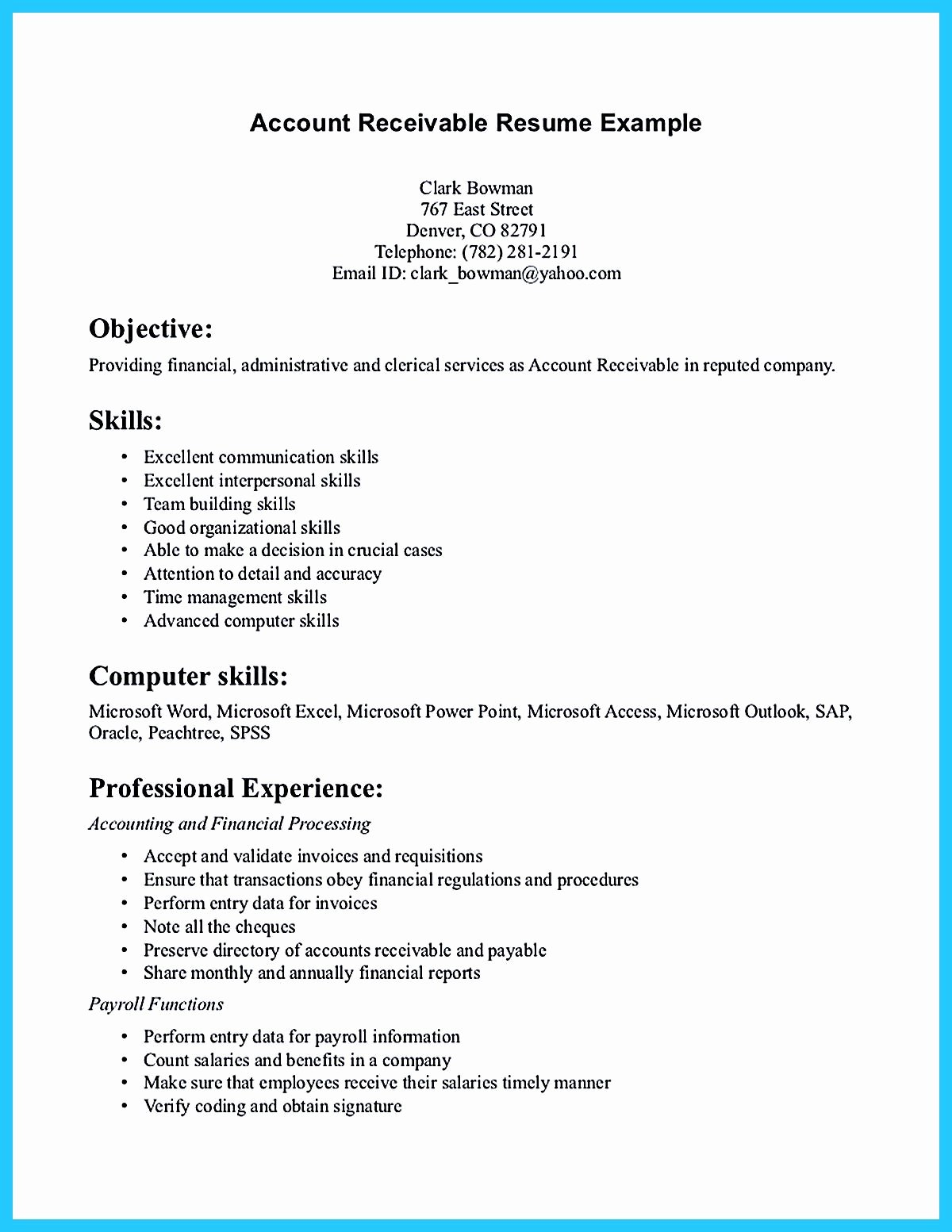 Accounts Receivable Resume Presents Both Skills and Also