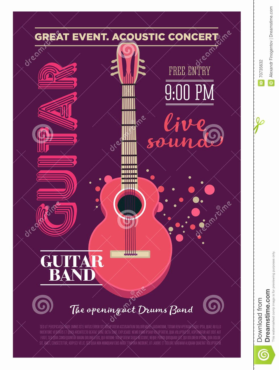 Acoustic Guitar Concert Flyer Template Retro