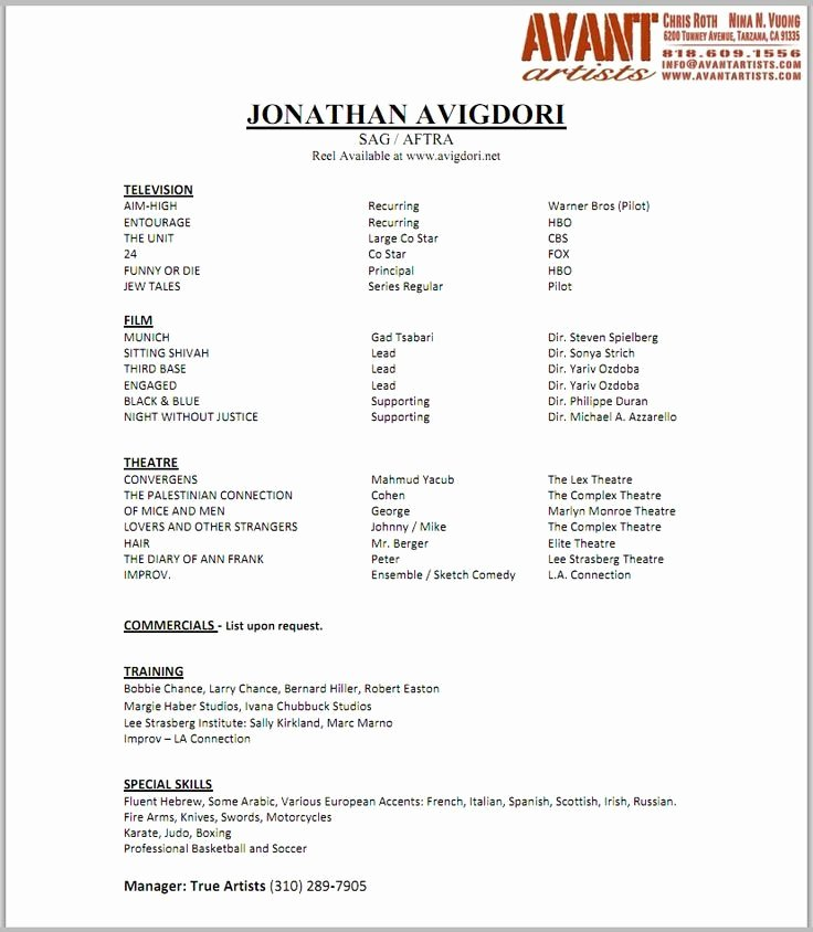 Acting Modeling Resume Best Resume Collection