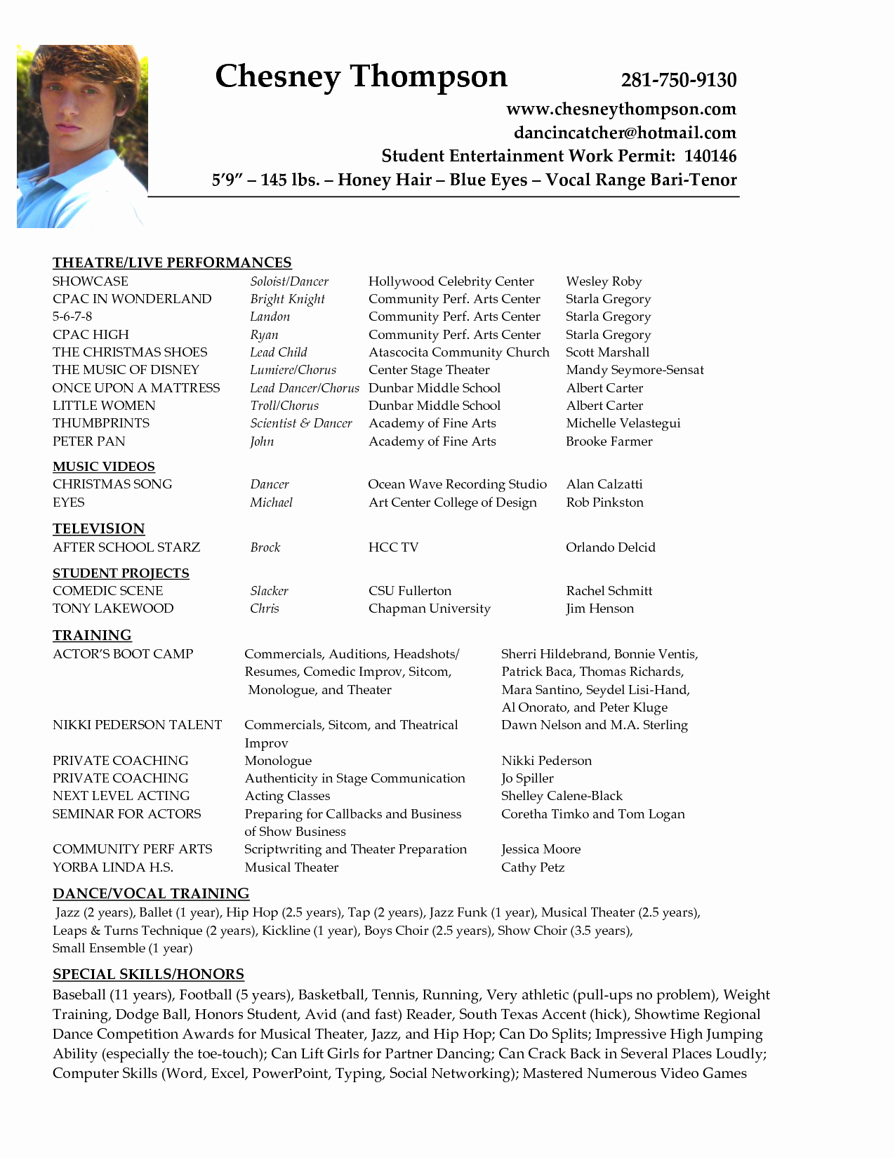 Acting Resume format Line Resume Sample Template