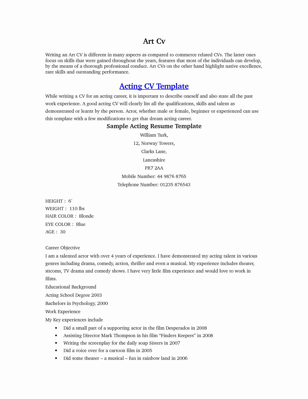 Acting Resume Sample Beginner Umecareer