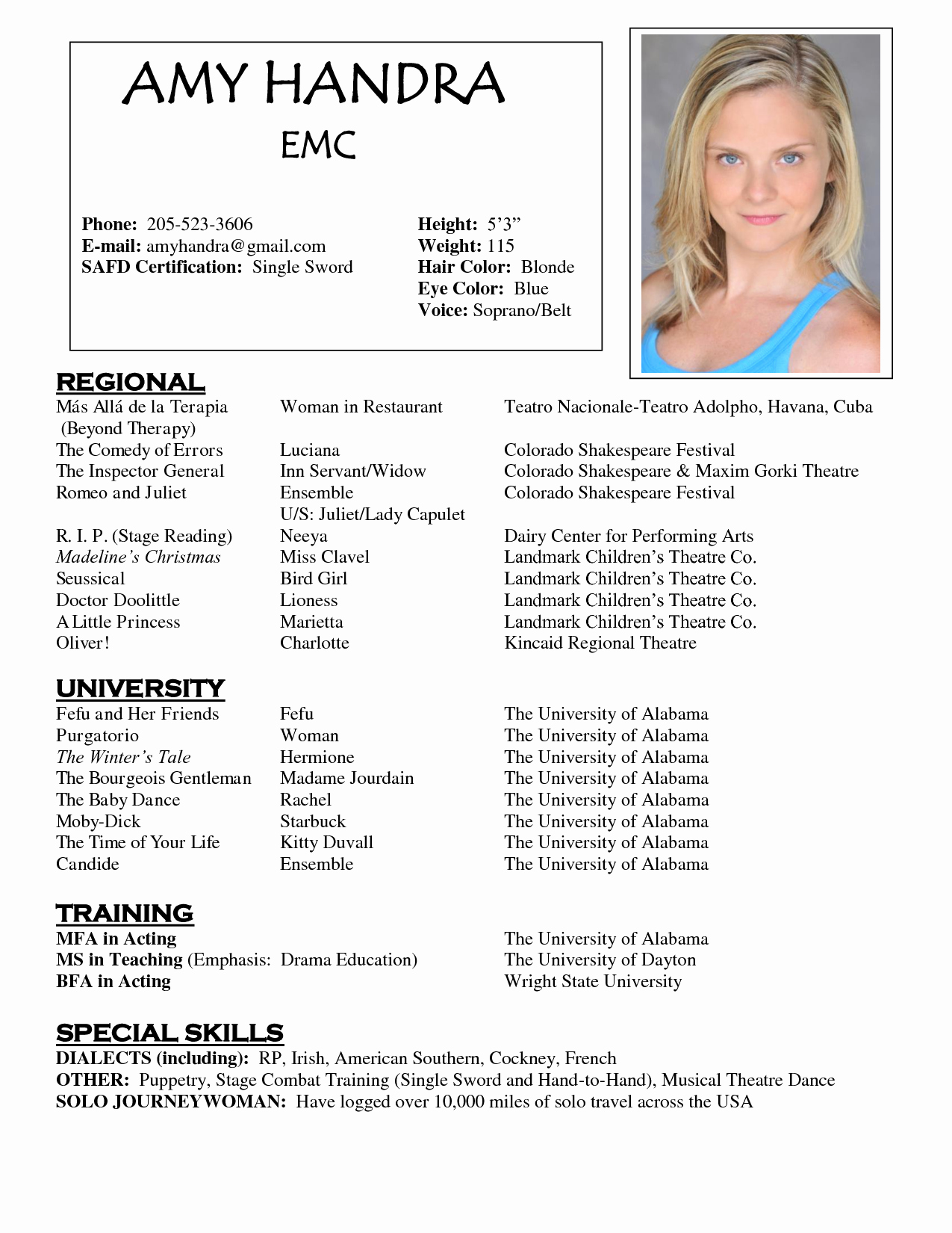 Acting Resume Sample Free O