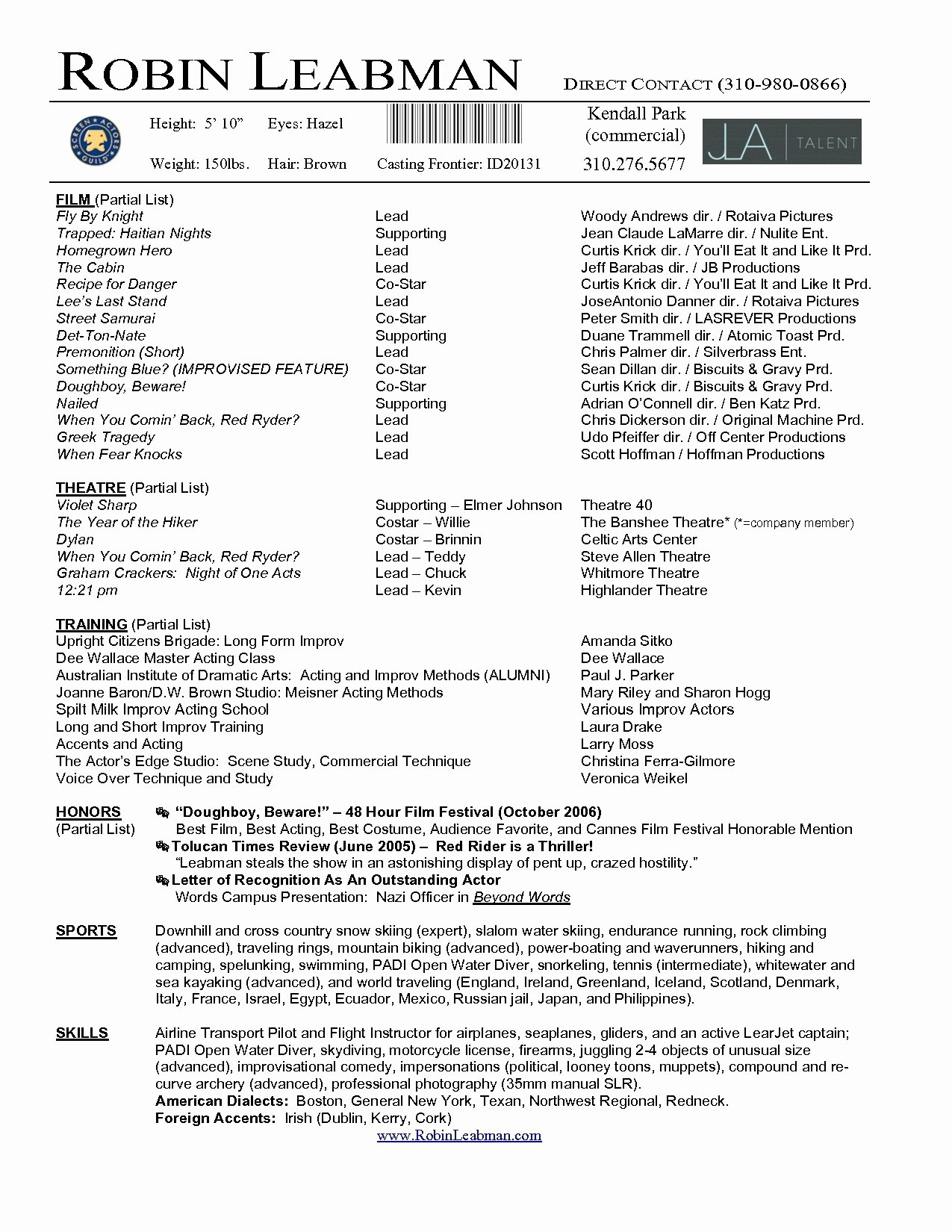 Acting Resume Template 2017