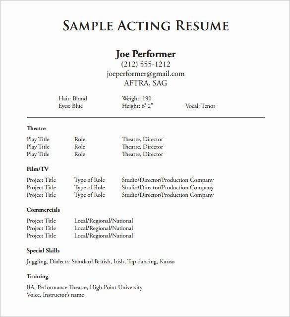 Acting Resume Template 7 Free Word Excel Pdf format