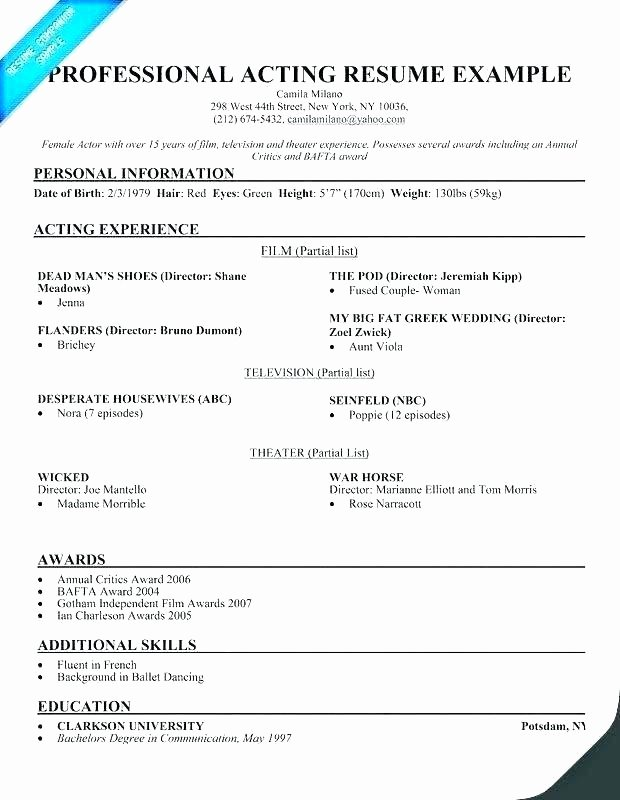 Technical Theatre Resume Template Latter Example