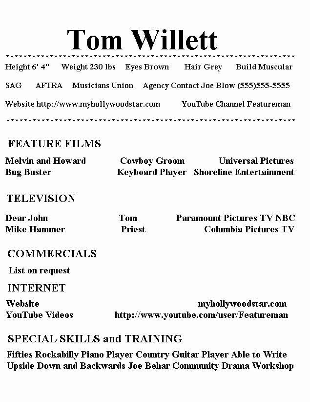 Acting Resume Template Google Docs