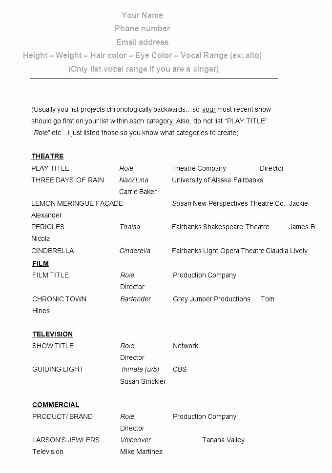Acting Resume Template No Experience Child Actor Resume