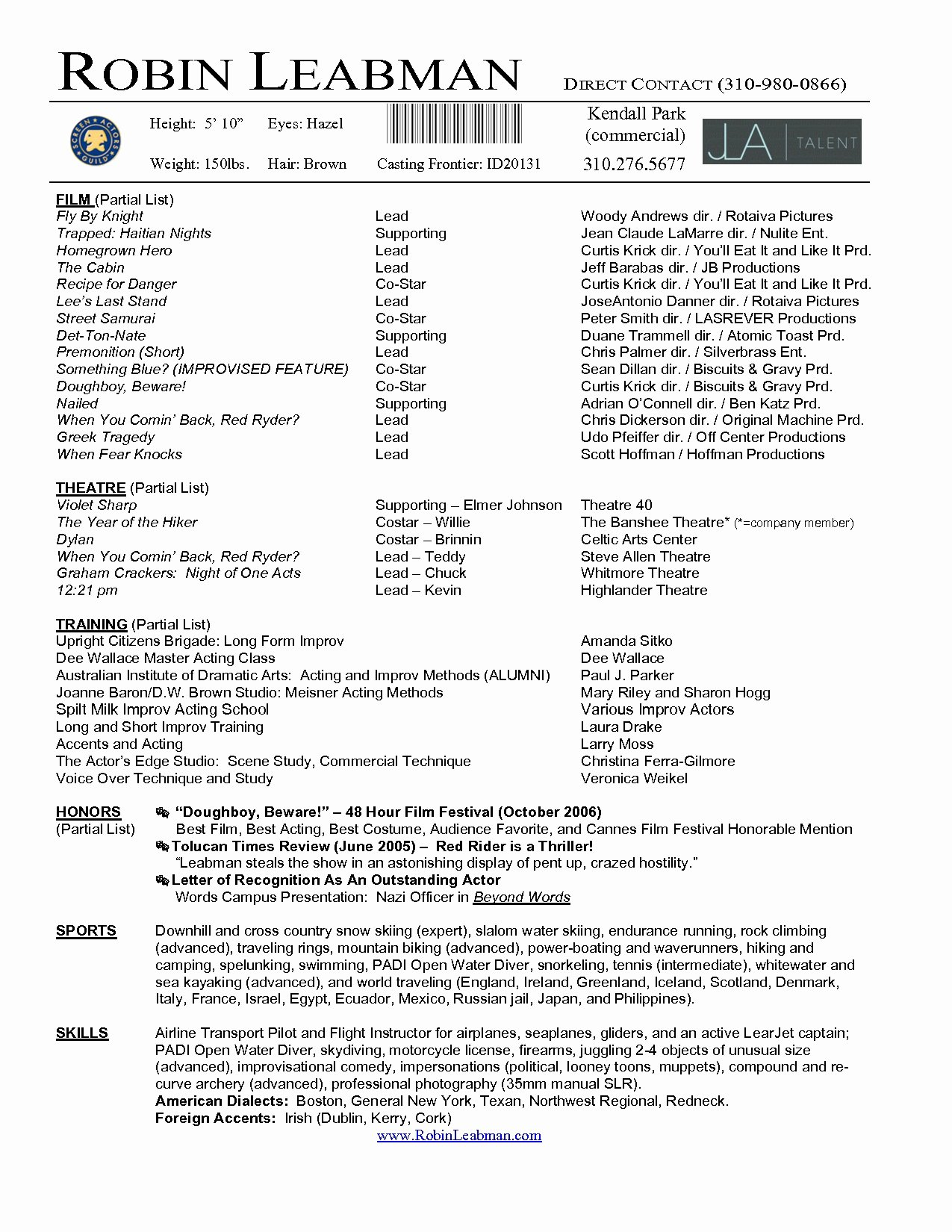 Acting Resume Template Word Pdf Actor Microsoft Word