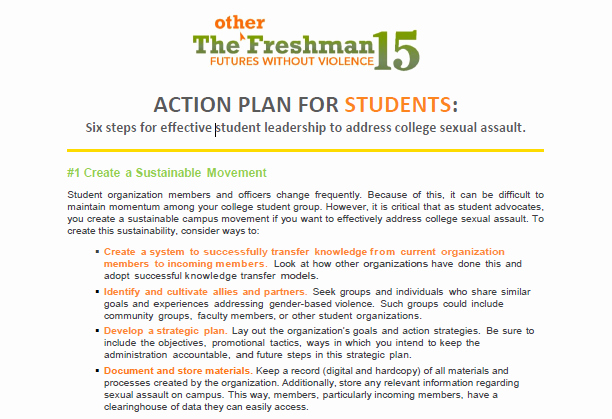 Action Plan for Students Preventing College Ual