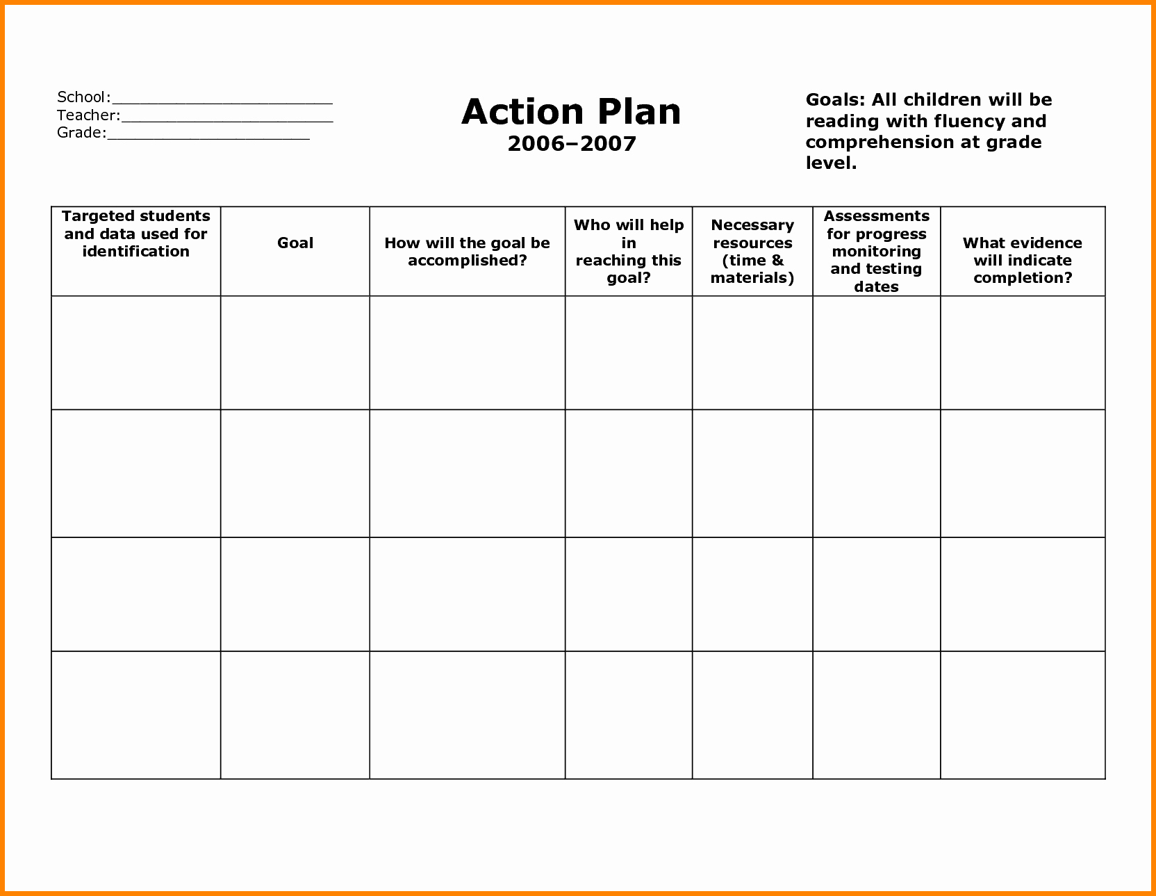 Action Plan Template Word Example Mughals