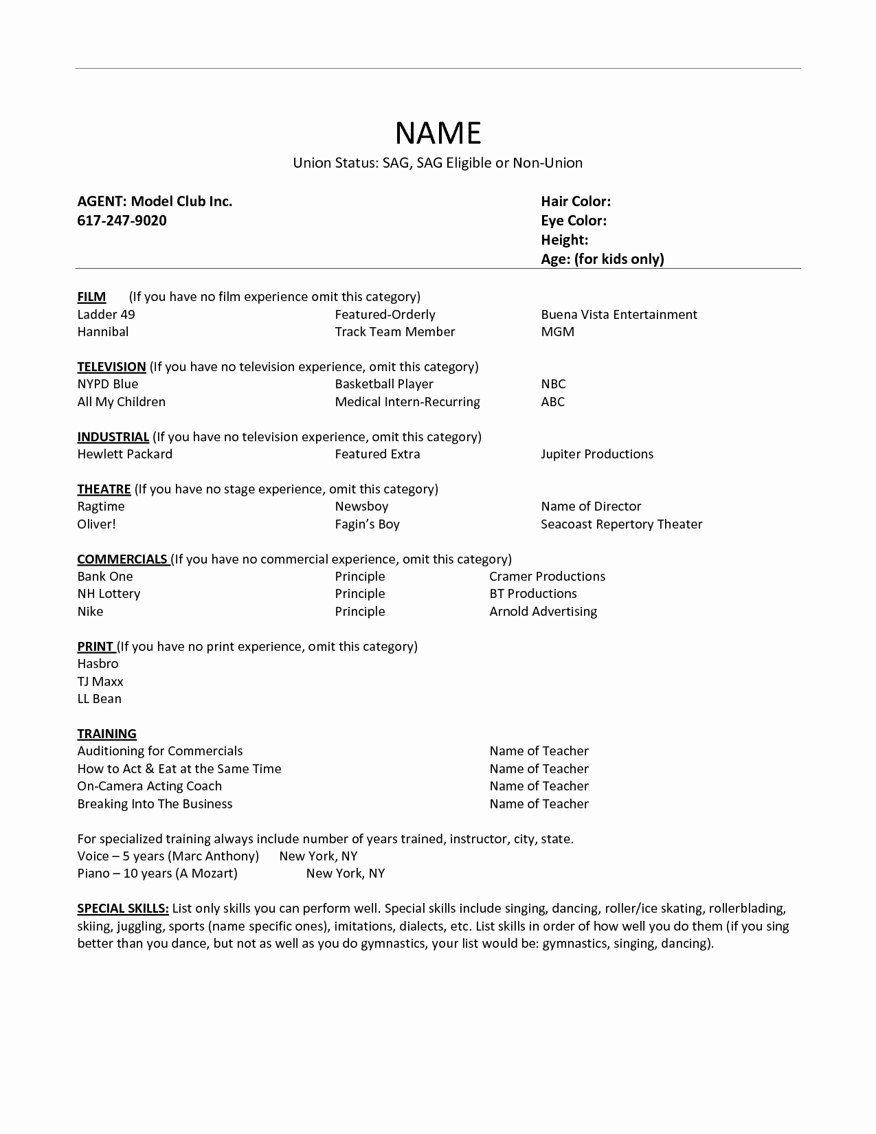 Actor Resume Builder Template Acting Google Docs Audition