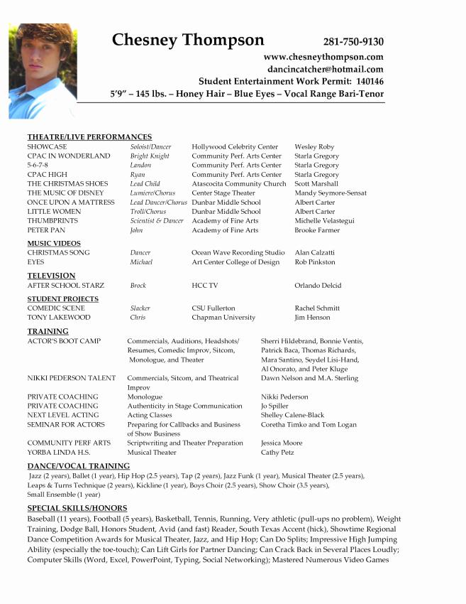 actors resume example
