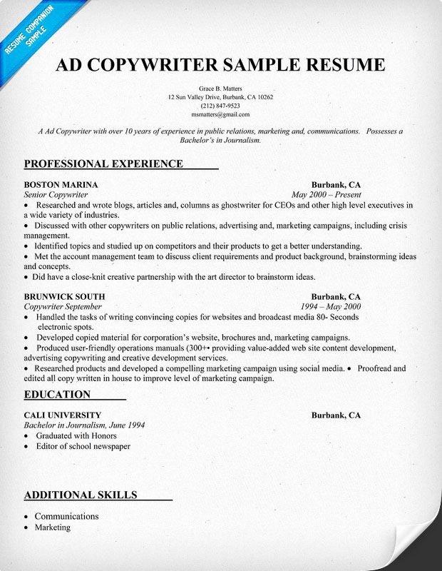 Ad Copy Writer Resume Sample Resume Panion