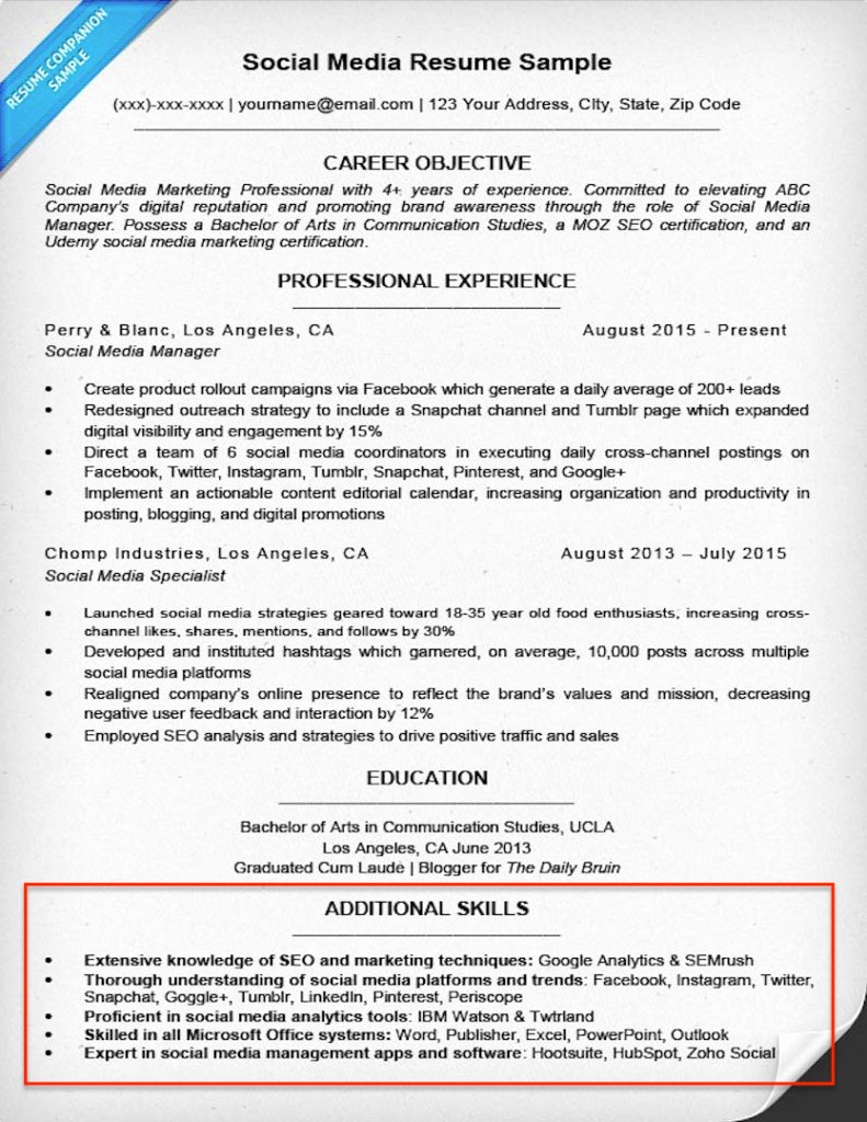 Additional Skills A Resume – Resume Template Ideas