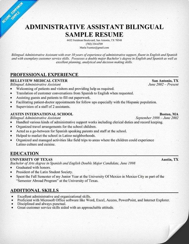 Administrative assistant Bilingual Resume Resume Panion