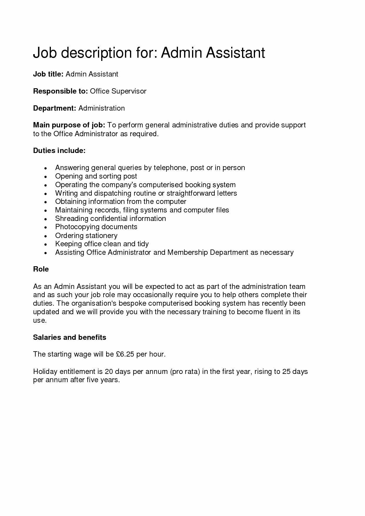Administrative assistant Job Description Fice Sample