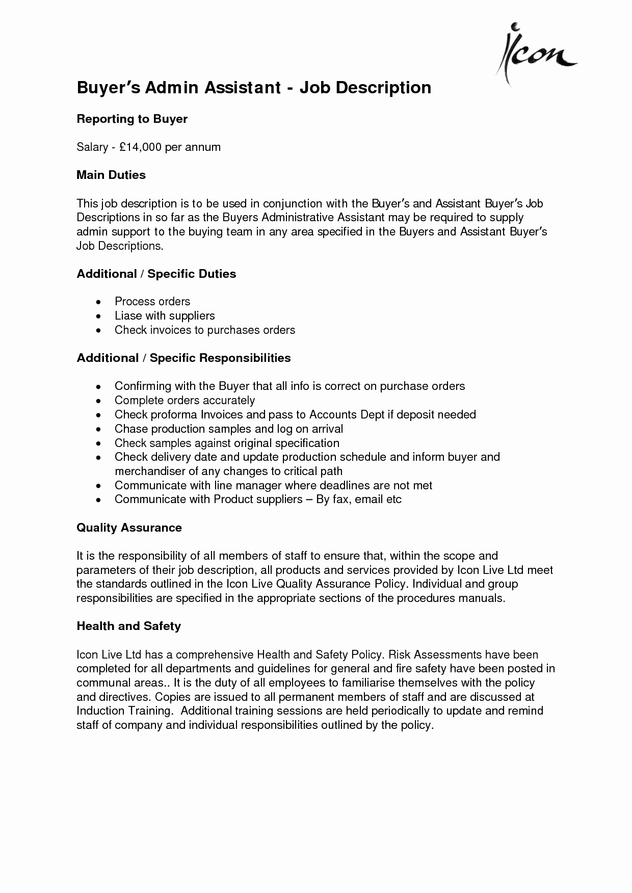 Administrative assistant Job Description Fice Sample