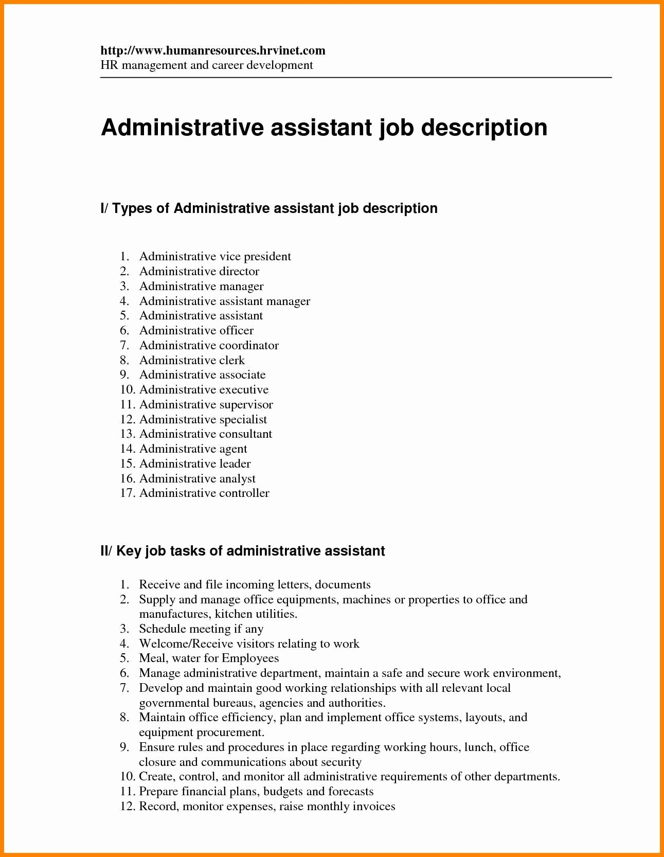 Administrative assistant Job Description for Resume Resume