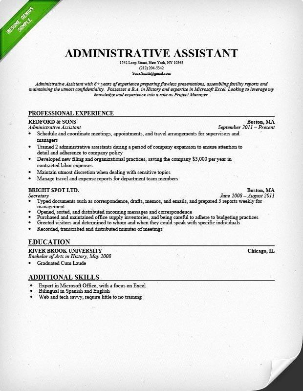 Administrative assistant Resume Description Best Resume