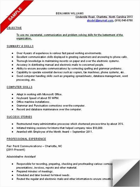 Administrative assistant Resume Puter Skills