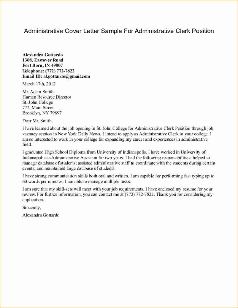 Administrative Cover Letter Examples Business Proposal