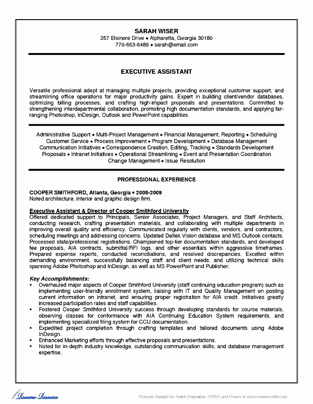 Administrative Executive assistant Resume Free Samples
