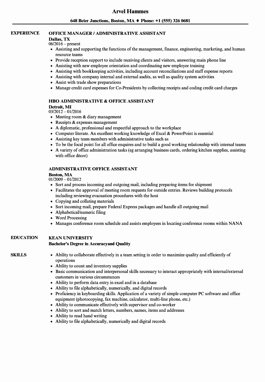 administrative office assistant resume sample